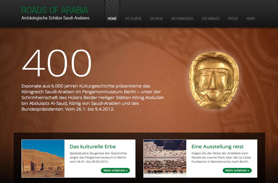 Webdesign für die Seite Roads of Arabia